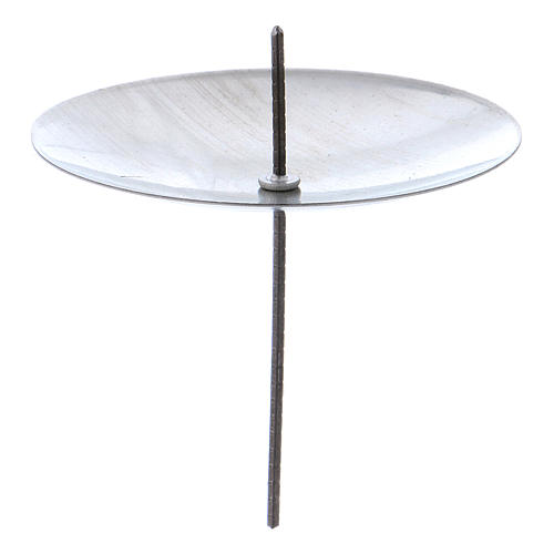Candle base in silver coloured metal, diameter 55 mm, set of 4 pcs 1