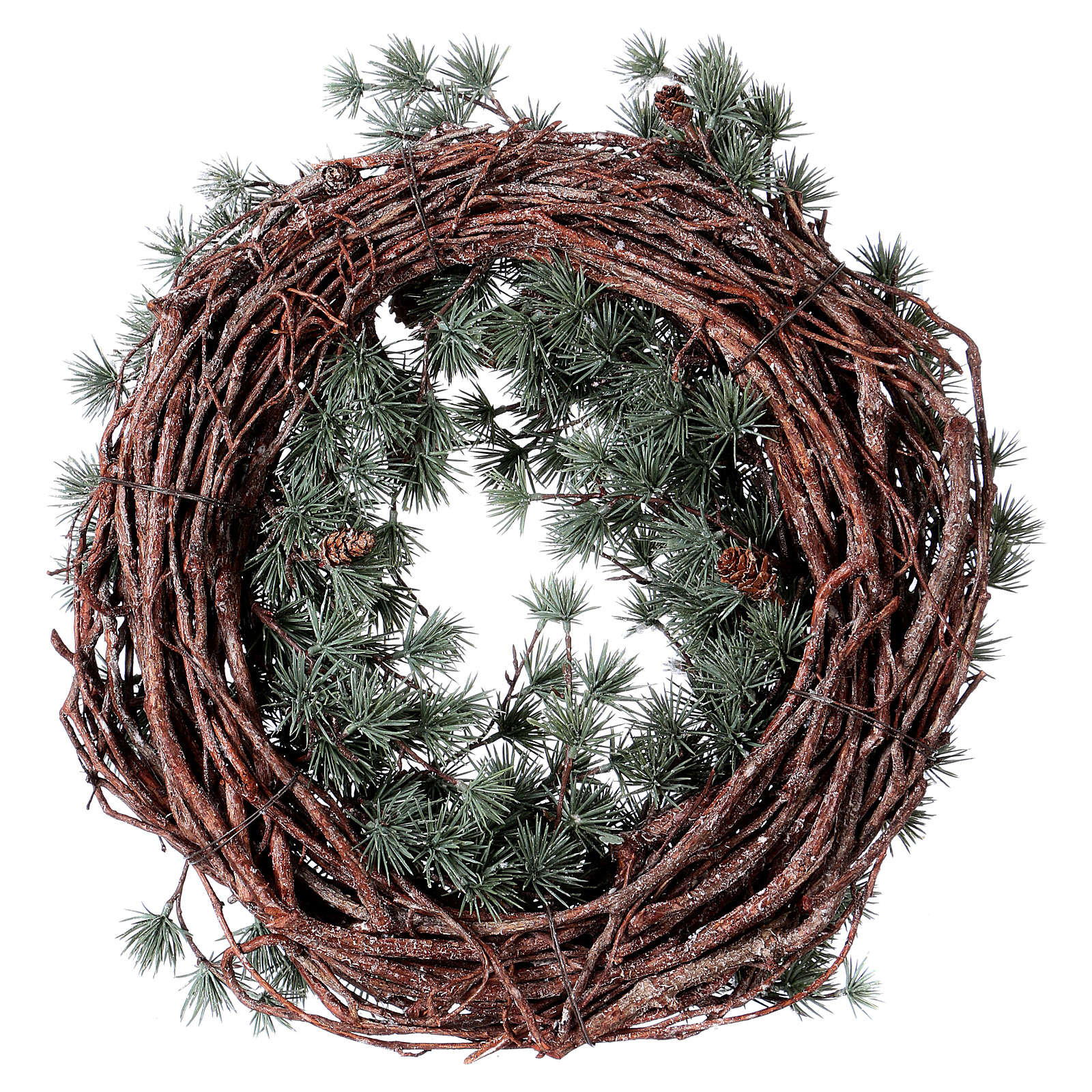 Advent wreath with frozen larch, diameter 45 cm 3