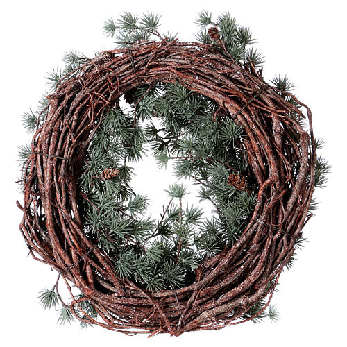 Advent wreath with frozen larch, diameter 45 cm 4
