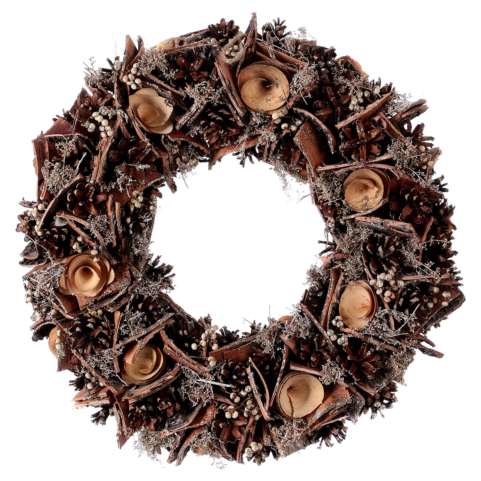 Advent wreath with pine cones and roses in wood, diameter 40 cm 3