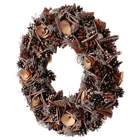 Advent wreath with pine cones and roses in wood, diameter 40 cm s3