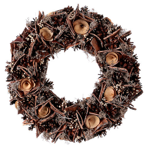 Advent wreath with pine cones and roses in wood, diameter 40 cm 1