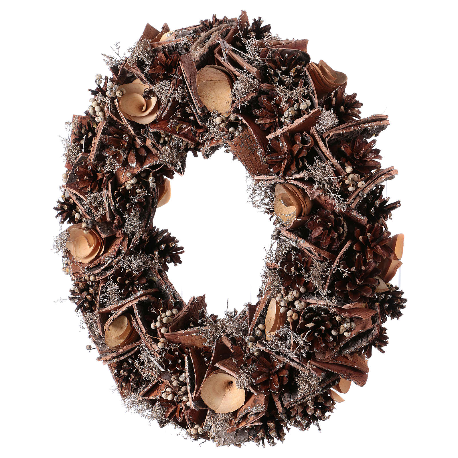 Corona de Adviento Guirnalda con Piñas y Flores de madera, diám. 40 cm 3