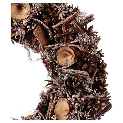 Corona de Adviento Guirnalda con Piñas y Flores de madera, diám. 40 cm 2