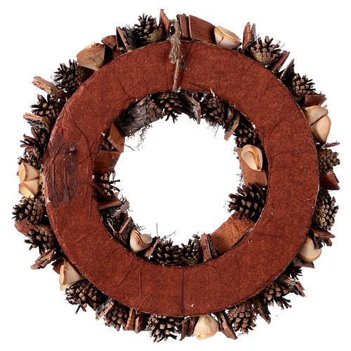 Corona de Adviento Guirnalda con Piñas y Flores de madera, diám. 40 cm 4