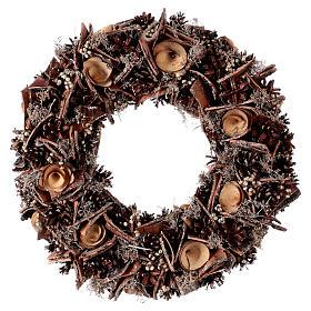 Enfeites de Natal para a Casa: Coroa Advento com pinhas rosas em madeira diâm. 40 cm