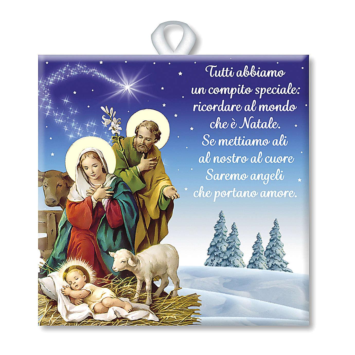 Ladrinho de cerâmica impressa cena Natividade oração ITA no verso 3