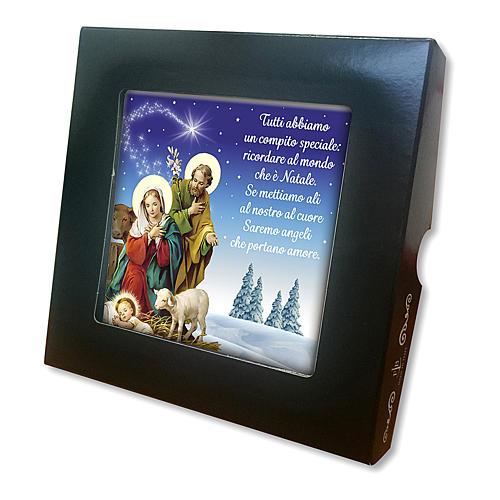 Ladrinho de cerâmica impressa cena Natividade oração ITA no verso 2