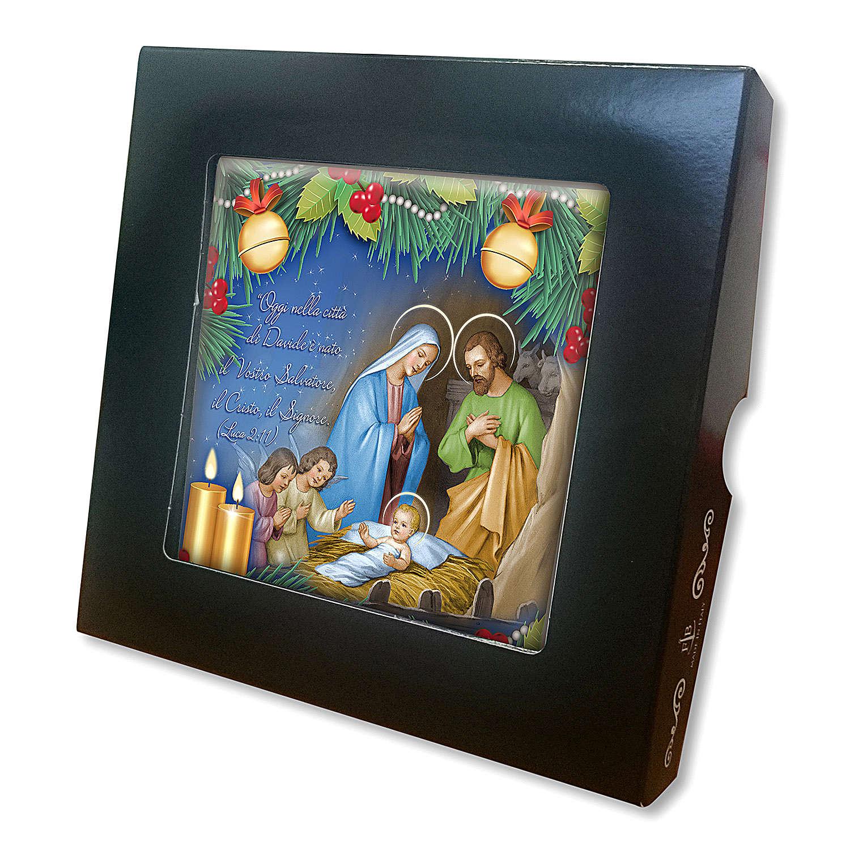 Piastrella ceramica stampata Natività preghiera retro 3