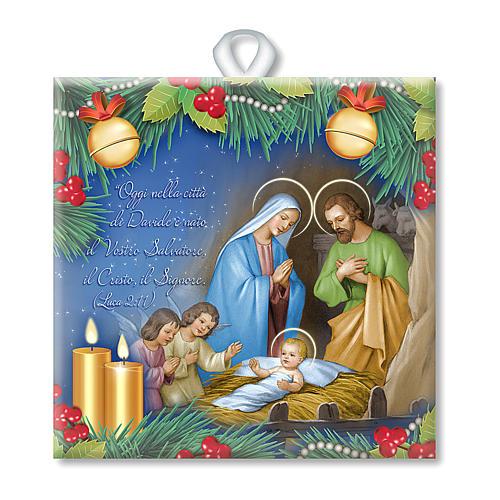 Piastrella ceramica stampata Natività preghiera retro 1