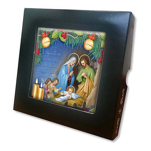 Piastrella ceramica stampata Natività preghiera retro 2