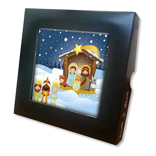 Ceramic tile with the Holy Family and Baby Jesus printed on the front and a prayer on the back 2
