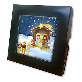 Piastrella ceramica stampata Sacra Famiglia e Gesù Bambino preghiera retro s2
