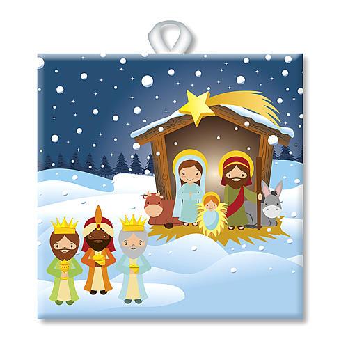 Piastrella ceramica stampata Sacra Famiglia e Gesù Bambino preghiera retro 1