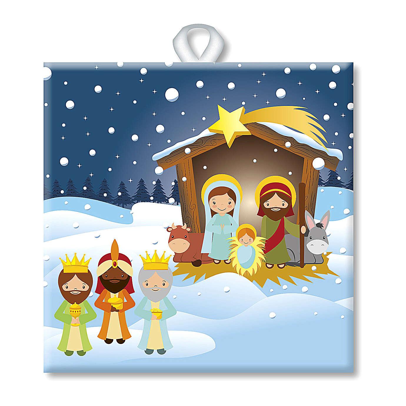 Printed Christmas tile with Holy Family Three Kings back prayer 3