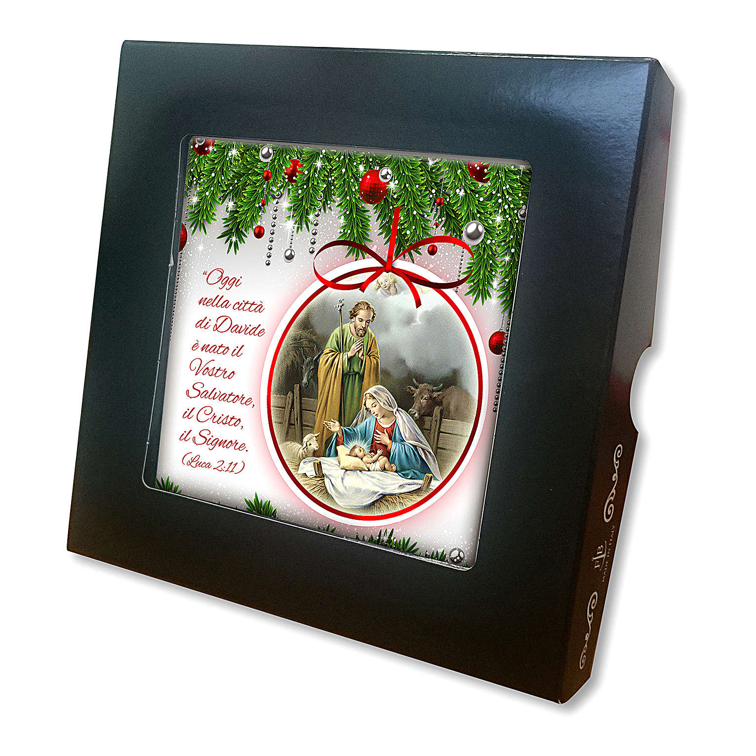 Ceramic tile with a Holy Family scene printed on the front and a prayer on the back 3
