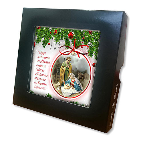 Ceramic tile with a Holy Family scene printed on the front and a prayer on the back 2