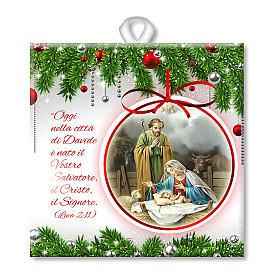 Enfeites de Natal para a Casa: Ladrinho cerâmica impressa cena Sagrada Família oração ITA no verso
