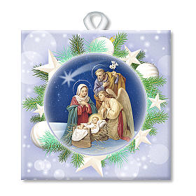 Christmas home decorations: Ceramic tile with the Holy Family printed on the front and a prayer on the back