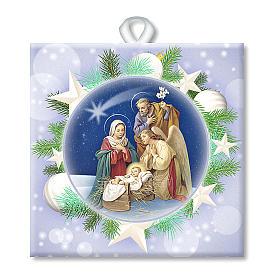 Enfeites de Natal para a Casa: Ladrinho cerâmica impressa imagem Sagrada Família oração ITA no verso