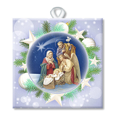 Ceramic tile with printed Sacred Family image and back prayer 1