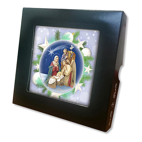 Ceramic tile with printed Sacred Family image and back prayer 2