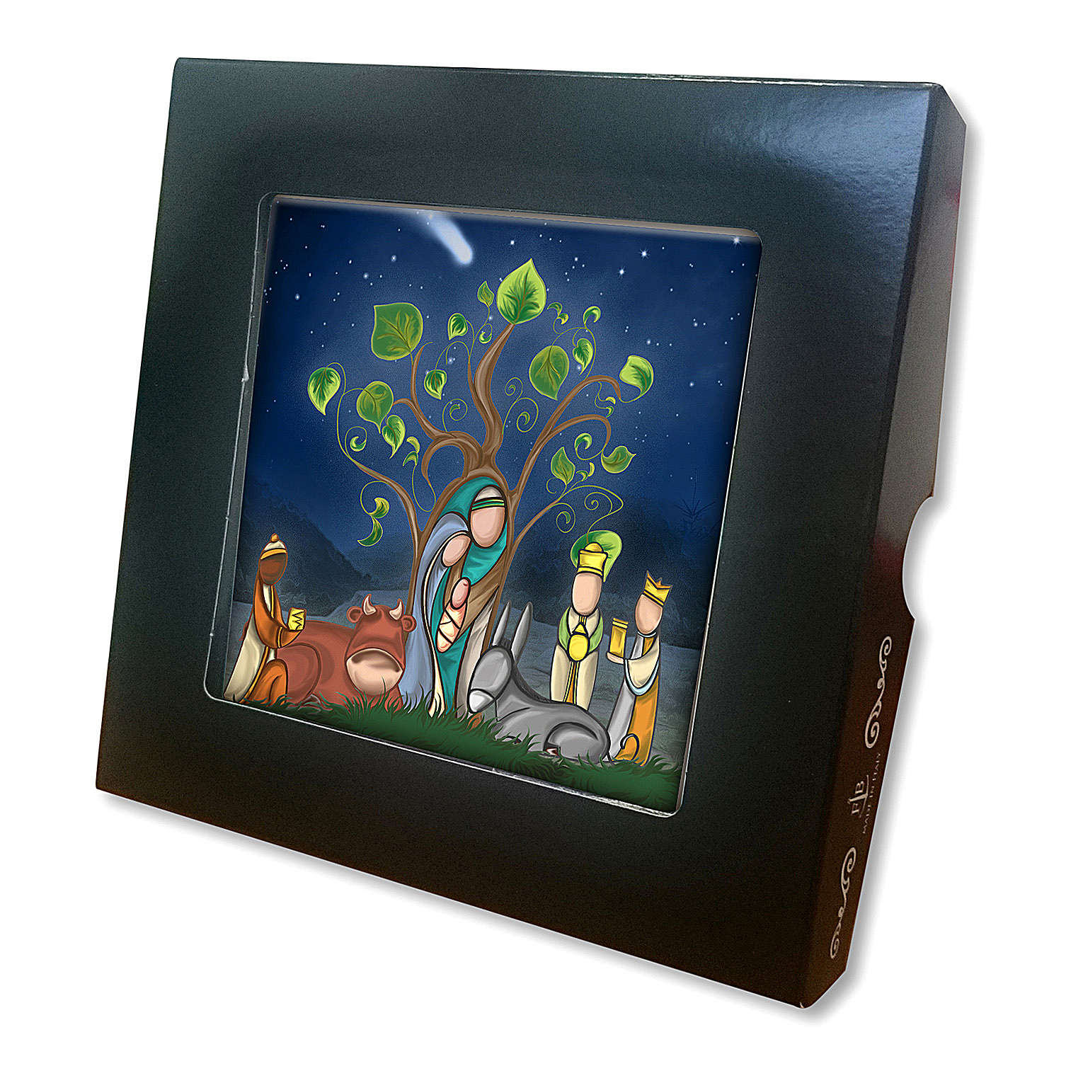 Ceramic tile with Mary, Joseph and Baby Jesus printed on the front and a prayer on the back 3