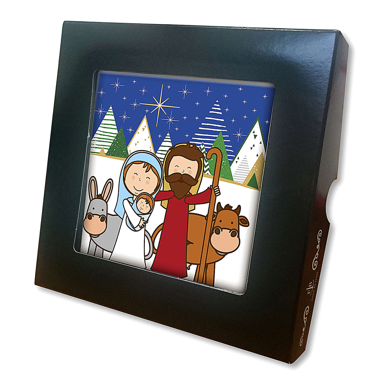 Ceramic tile with traditional Nativity Scene printed on the front and a prayer on the back 3