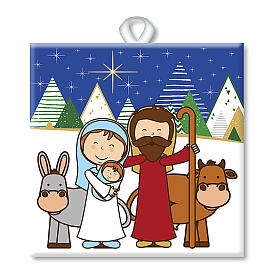 Ceramic tile with traditional Nativity Scene printed on the front and a prayer on the back s1