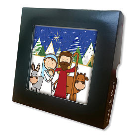 Ceramic tile with traditional Nativity Scene printed on the front and a prayer on the back s2