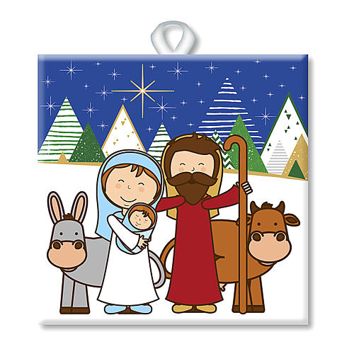 Ceramic tile with traditional Nativity Scene printed on the front and a prayer on the back 1