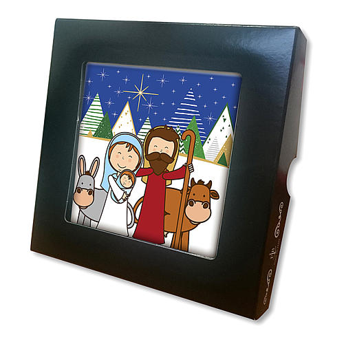 Ceramic tile with traditional Nativity Scene printed on the front and a prayer on the back 2
