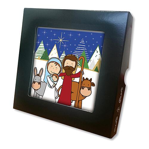 Printed ceramic tile with kids Nativity scene prayer on back 2