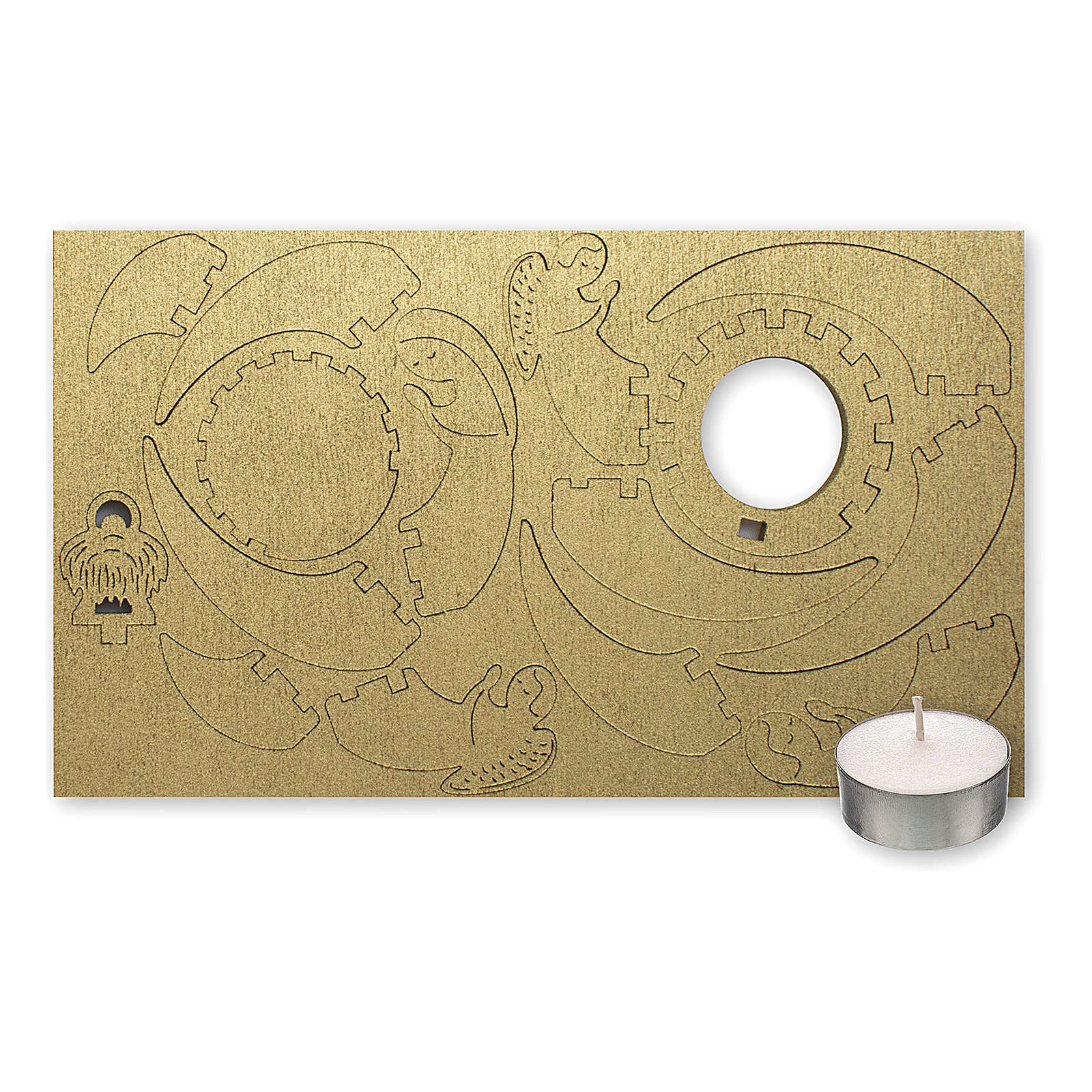 Candelero de madera dorada imagen Belén 3