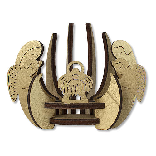 Candelero de madera dorada imagen Belén 1