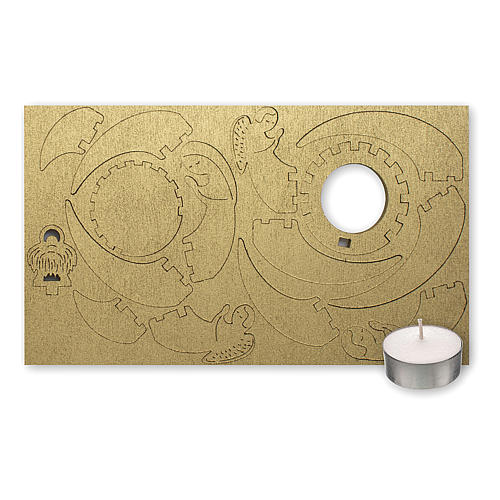 Candelero de madera dorada imagen Belén 2