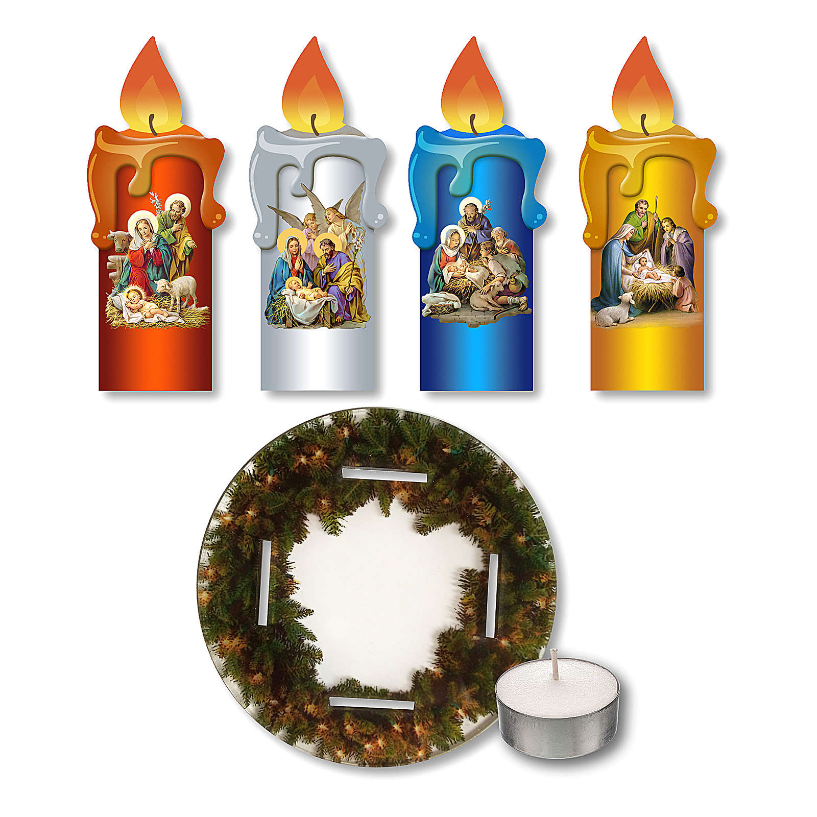 Advent wreath in plexiglass, garland and candles 3