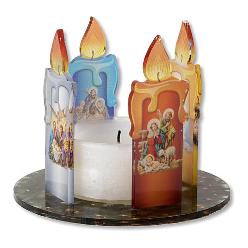 Advent wreath in plexiglass, garland and candles 1