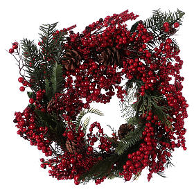Corona Adviento Guirnalda bayas rojas diámetro 50 cm s1