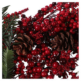 Corona Adviento Guirnalda bayas rojas diámetro 50 cm s2