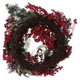 Corona Adviento Guirnalda bayas rojas diámetro 50 cm s3