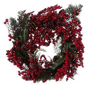 Enfeites de Natal para a Casa: Coroa do Advento Guirlanda de Natal bagas vermelhas diâm. 50 cm