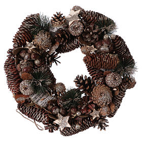 Advent wreath with pine cones and hazelnuts diam. 50 cm s1