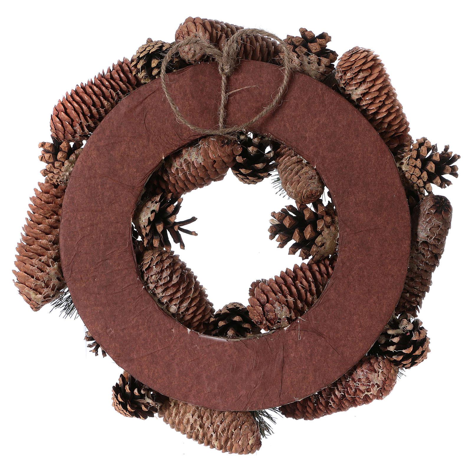 Coroa do Advento Guirlanda de Natal pinhas e bolotas diâm. 33 cm 3