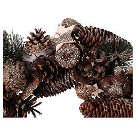 Coroa do Advento Guirlanda de Natal pinhas e bolotas diâm. 33 cm s2