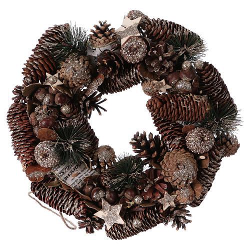 Coroa do Advento Guirlanda de Natal pinhas e bolotas diâm. 33 cm 1