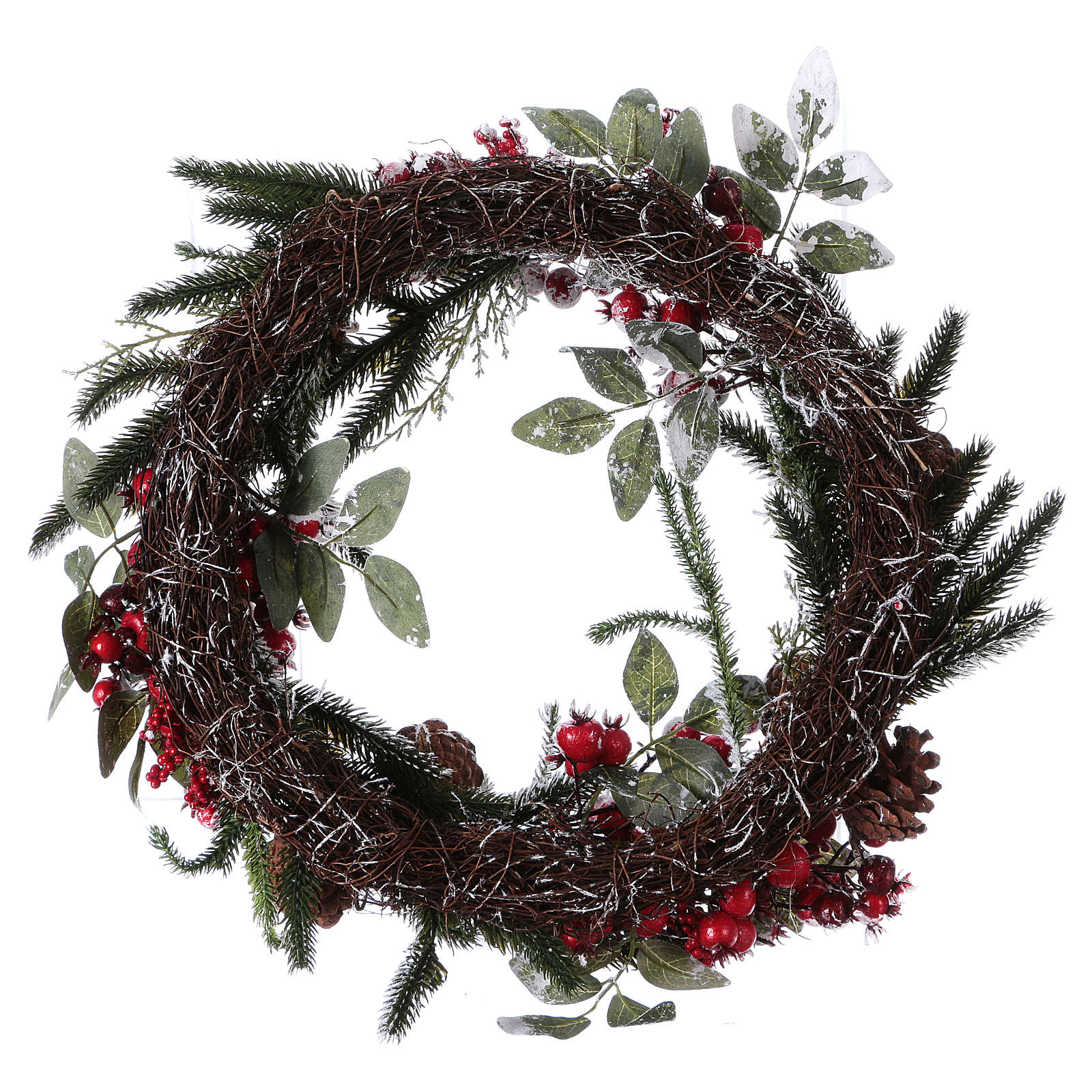 Advent wreath with berries and snow diam. 50 cm 3