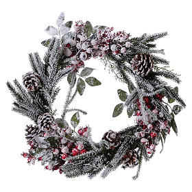 Advent wreath with berries and snow diam. 50 cm s1