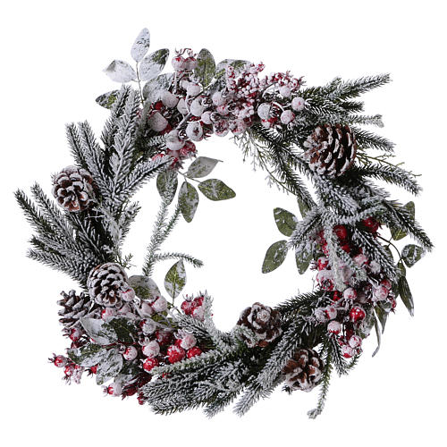 Advent wreath with berries and snow diam. 50 cm 1