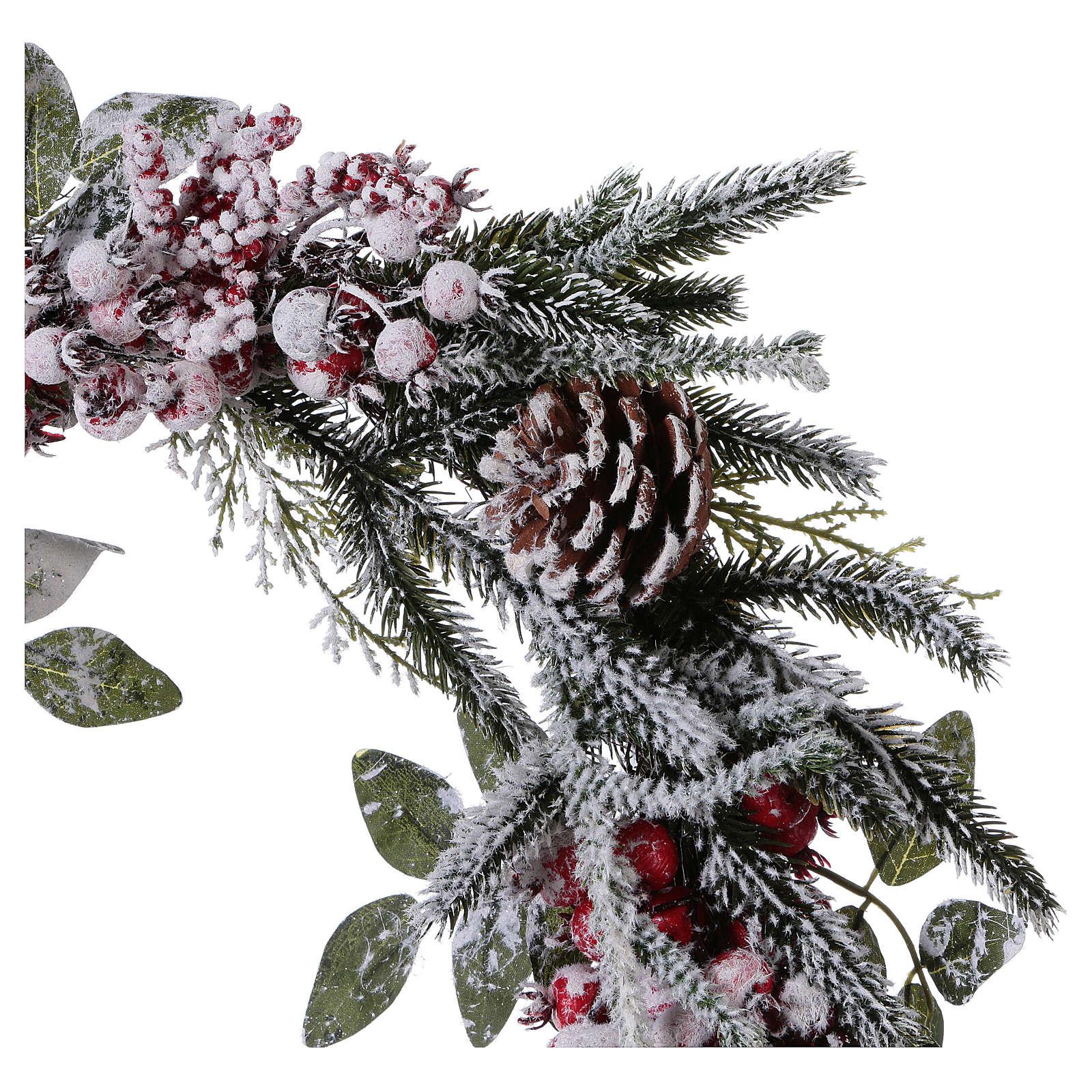 Coroa do Advento Guirlanda de Natal bagas com neve diâm. 50 cm 3